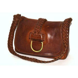 Vintage 70s Handcrafted Brown Rugged Woven Leather